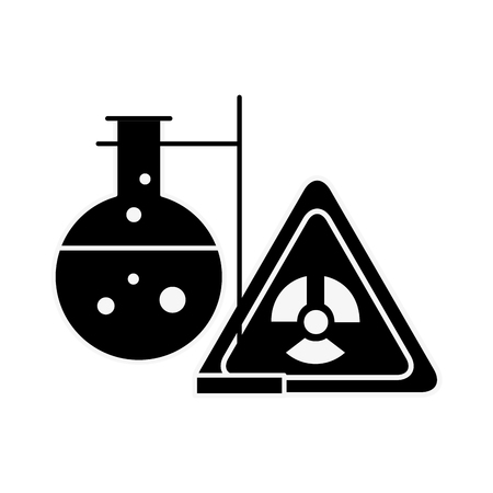 chemistry hazard sign test tube laboratory vector illustration