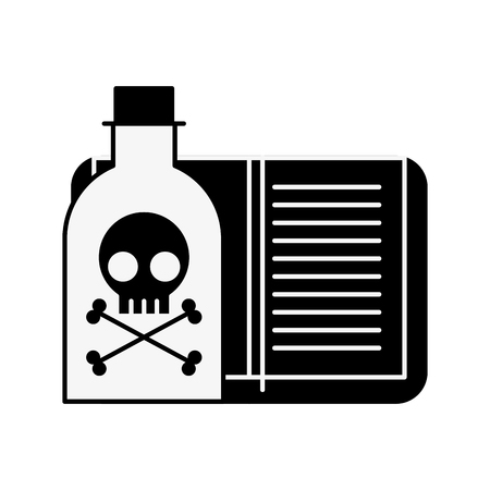 Ilustración de vector de laboratorio de libro de peligro de botella de veneno