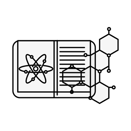 biology science study book atom molecule vector illustration thin line