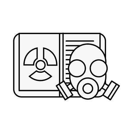 repirator mask chemistry book radiaton danger vector illustration neon image
