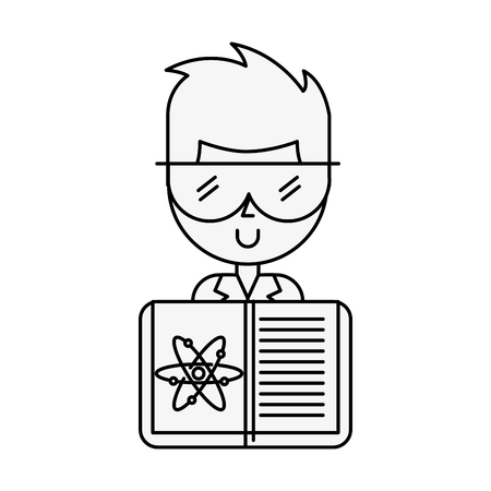 scientific man professor book science chemistry atom vector illustration thin line  イラスト・ベクター素材