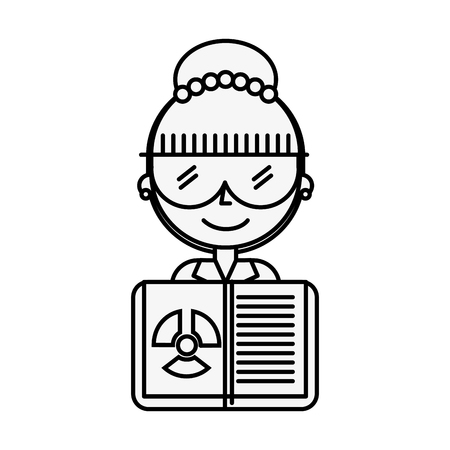 science scientist woman with glasses and radiation hazard book vector illustration thin line