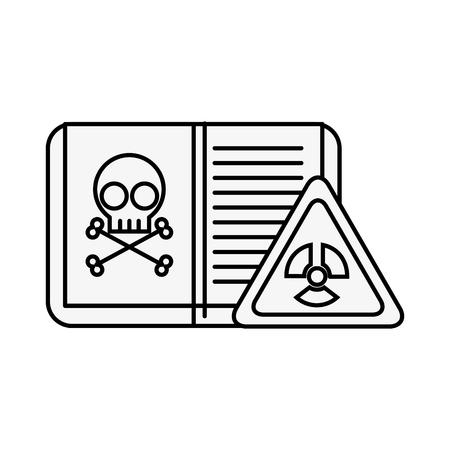 biology book poison danger hazard sign vector illustration thin line