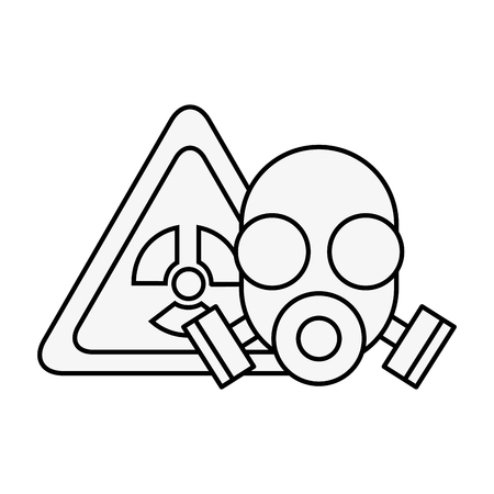 respirator mask protection danger radiation vector illustration thin line