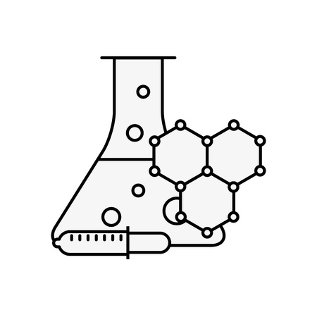 laboratory test tube sample dropper molecule structure vector illustration thin line