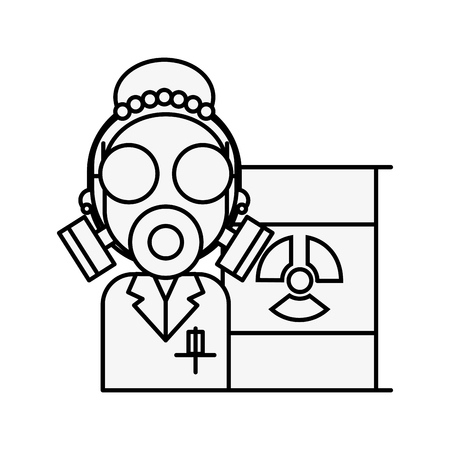 scientific woman with protection mask radiation barrel hazard vector illustration thin line Reklamní fotografie - 109951106
