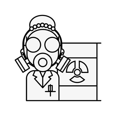 scientific woman with protection mask radiation barrel hazard vector illustration thin line
