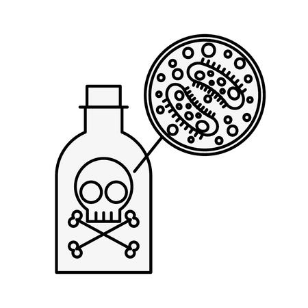 Botella de veneno peligro bacterias infección por virus ilustración vectorial línea delgada Ilustración de vector