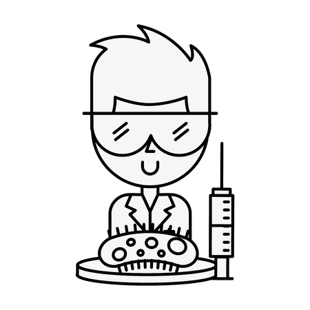 scientific man professor syringe and bacteria germ vector illustration thin line