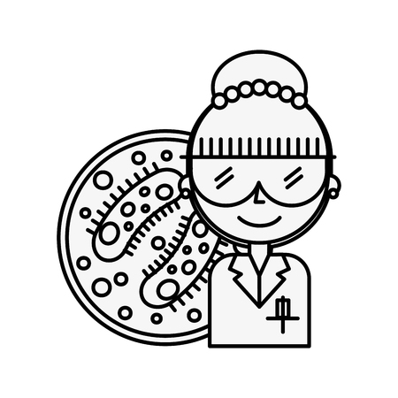 scientific woman professional biology bacteria vector illustration thin line