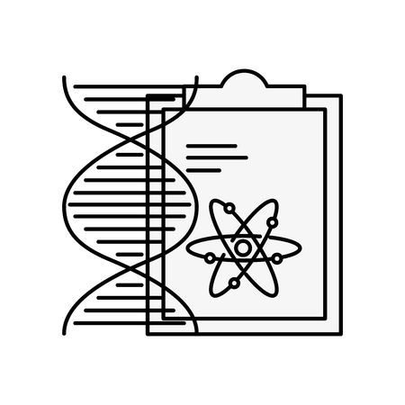 chemistry clipboard dna atom molecule structure vector illustration thin line