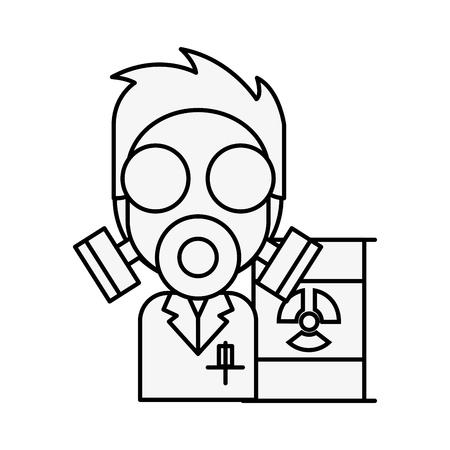 doctor mask protection hazard radiation barrel vector illustration thin line