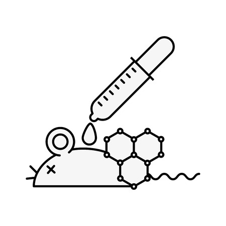 biology laboratory mouse dropper pouring liquid vector illustration thin line