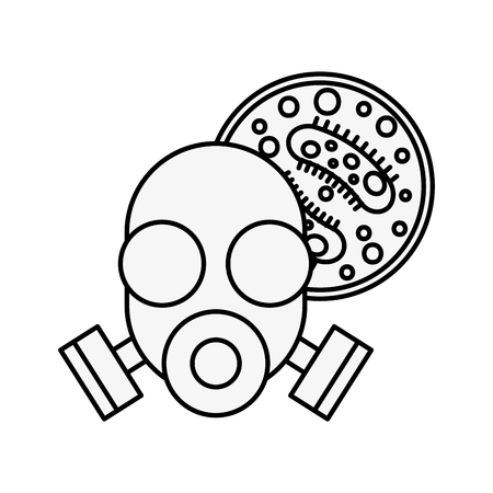 respirator mask virus infection danger chemistry laboratory vector illustration thin line Illustration
