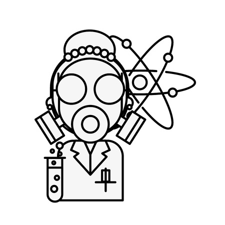 scientific woman wearing mask protection molecule chemistry laboratory vector illustration thin line Ilustração