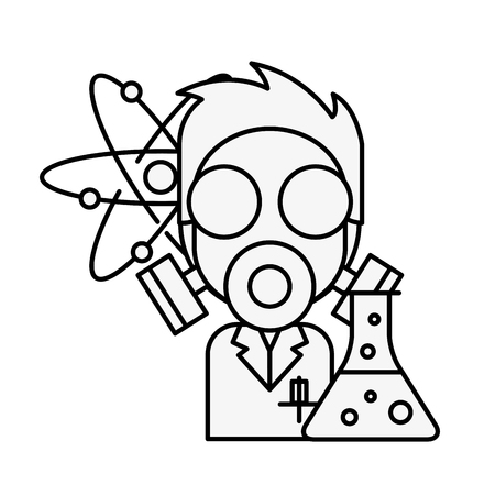doctor science mask test tube chemistry laboratory vector illustration thin line Banque d'images - 109951125