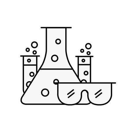 test tube flasks glasses protection chemistry laboratory vector illustration thin line