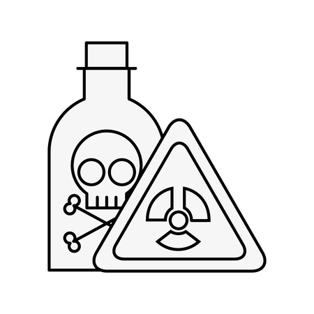 bottle poison laboratory danger board chemistry laboratory vector illustration thin line