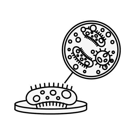 chemistry laboratory petri dish bacteries search vector illustration thin line Illustration