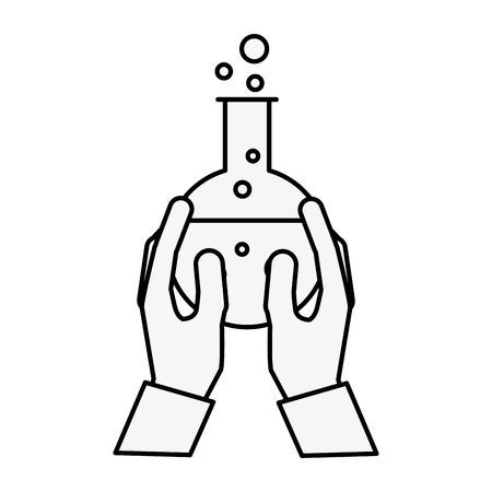 hands holding beaker flask chemistry laboratory vector illustration thin line