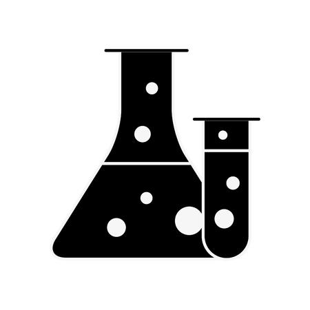 science laboratory test tube beaker flask vector illustration