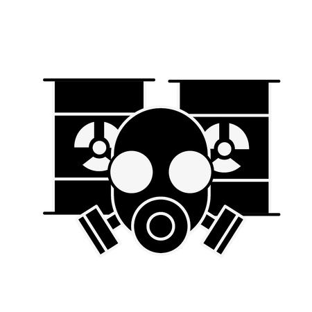 respirator protective mask and hazard barrels vector illustration Foto de archivo - 109951138