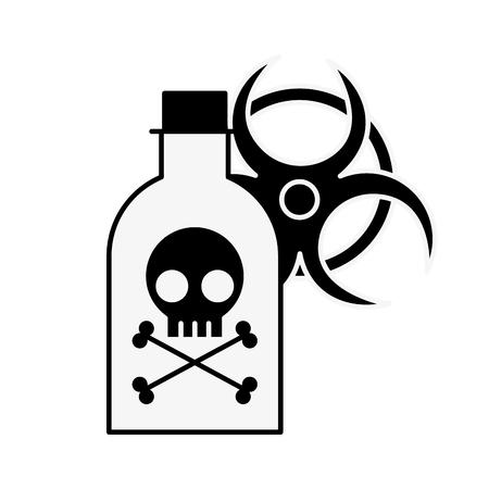 Botella de veneno peligro peligro radiación signo ilustración vectorial