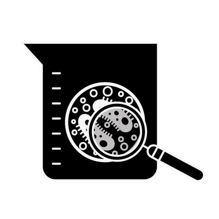 laboratory flask test science bacteria magnifying glass vector illustration Illustration