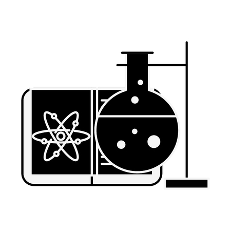 biology chemistry test tube book atom vector illustration  イラスト・ベクター素材