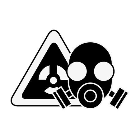 Atemschutzmaske Schutz Gefahr Strahlung Vektor-Illustration