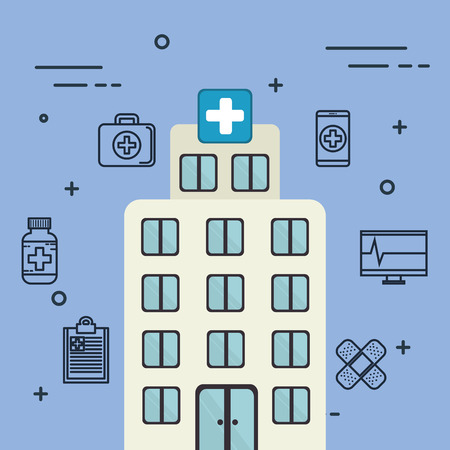 hospital building with medical healthcare icons vector illustration