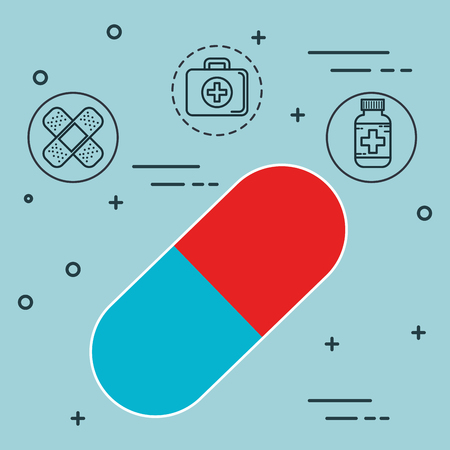 capsule with medical healthcare icons vector illustration design