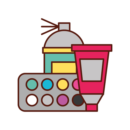graphic design spary color tool tube and palette vector illustration