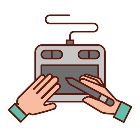 graphic designer hands with tablet digital pen vector illustration Ilustração
