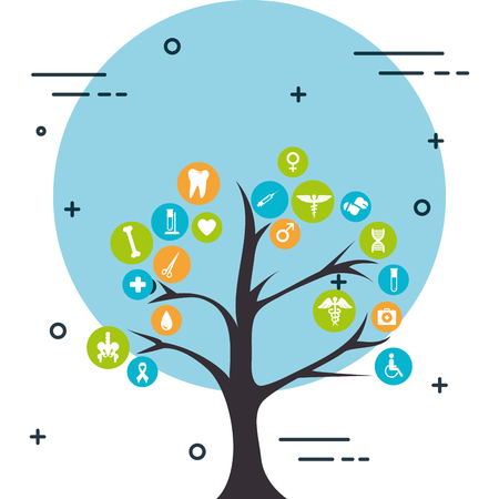 tree with medical healthcare icons vector illustration design
