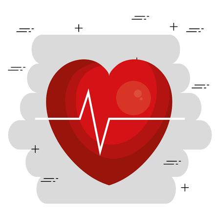 Cuore cardio icona medica illustrazione vettoriale design Vettoriali