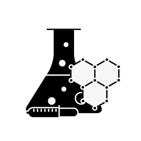 laboratory test tube sample dropper molecule structure vector illustration Stock Vector - 109951184