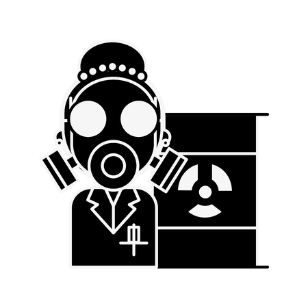 scientific woman with protection mask radiation barrel hazard vector illustration Reklamní fotografie - 109951185