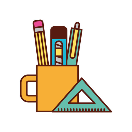wooden pencil pen cutter inside cup and ruler tools graphic design vector illustration