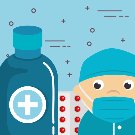 surgeon with medical healthcare icons vector illustration design 向量圖像