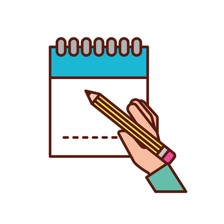hand holding pencil writing on notepad vector illustration