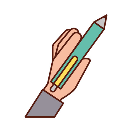 hand holding pen write supply vector illustration