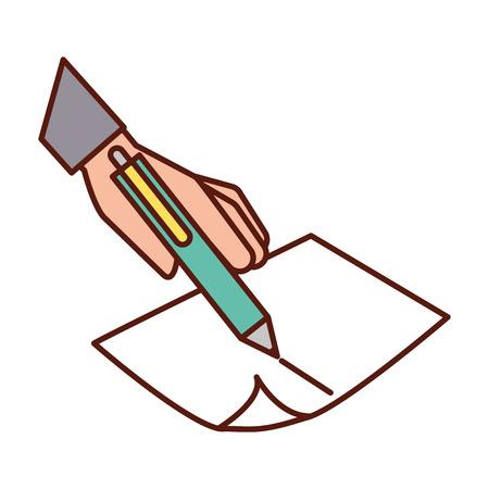 hand holding pen writing on paper vector illustration