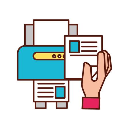 hand holding paper copy printer machine vector illustration