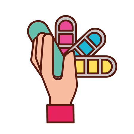hand holding color tone tool graphic design vector illustration