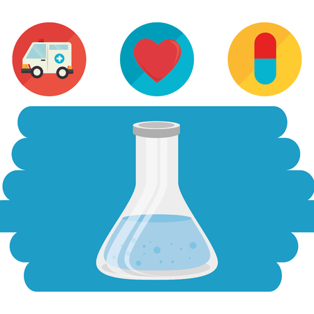 tube test with medical healthcare icons vector illustration design
