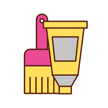 artistic design color tube and brush vector illustration