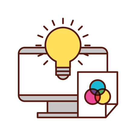 computer bulb idea creativity paper color tone vector illustration