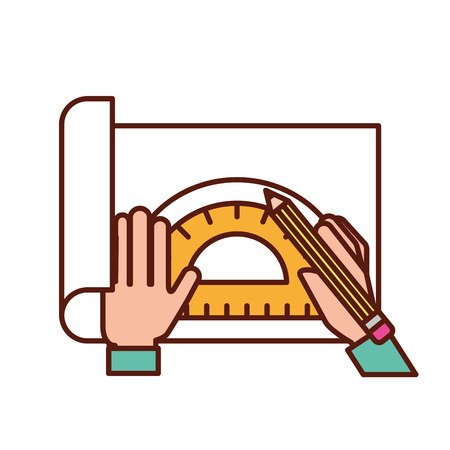 graphic designer hands working with protractor and pencil vector illustration Stock fotó - 109951245