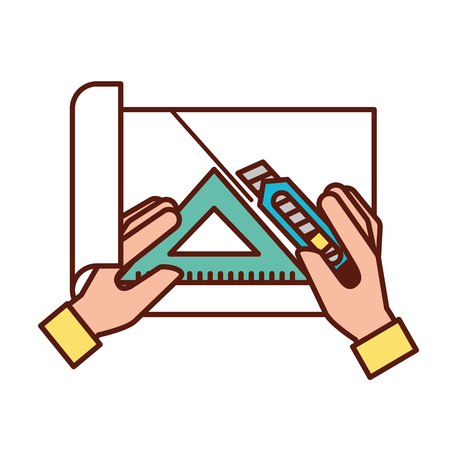 hands with cutter and triangle ruler cut paper vector illustration Illustration